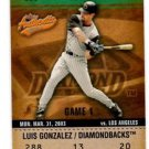 Luis Gonzalez Balcony Trading Card Single 2003 Fleer Authentix #8 Diamondbacks