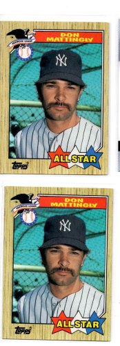 Don Mattingly Trading Card Lot of (2) 1987 Topps #606 Yankees