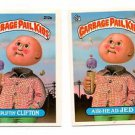 Upliftin Clifton Air-head Jed Sticker Lot 1986 Topps Garbage Pail Kids 212a 212b