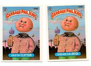 Upliftin Clifton Air-head Jed Sticker Lot 1986 Topps Garbage Pail Kids 212a 212b