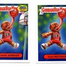 Mad Michael Jumpin Jordan 80s Spoof Lot 2015 Topps Garbage Pail Kids #7a 7b