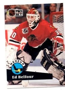 Ed Belfour Trading Card Single 1991-92 Pro Set French #600 Blackhawks