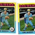 Tom Murphy Trading Card Lot of (2) 1975 Topps #28 Brewers VGEX