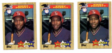 Kirby Puckett Trading Card Lot of (3) 1987 Topps #611 Twins