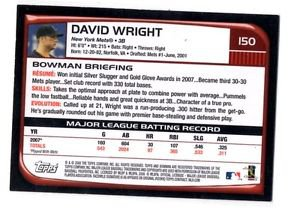 David Wright Trading Card Single  2008 Bowman #150 Mets NMT