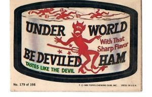 Under World Bedeviled Ham Trading Card 1980 Topps Wacky Packages 180/198
