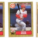 Pete Rose Trading Card Lot of (3) 1987 Topps #200 x2 &  #393 x1 Reds