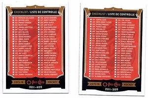 Checklist A & B Trading Card Single 2015-16 UD O-Pee-Chee #251 & #351