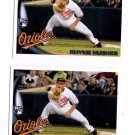 Rhyne Hughes RC Trading Card Lot of (2) 2010 Topps Update #US282 Orioles