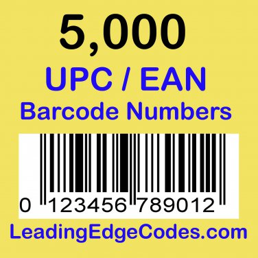 5000 UPC EAN Barcode numbers GS-1 issued - Use on Amazon