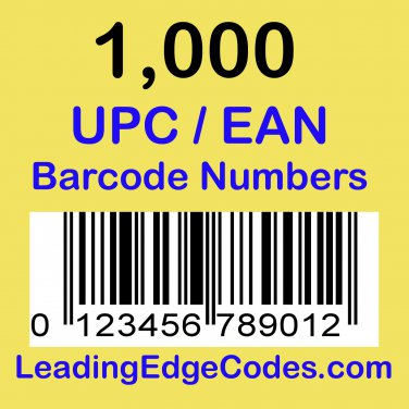 1000 UPC EAN Barcode numbers GS-1 issued - Use on Amazon