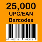25,000 UPC EAN Barcode numbers GS-1 issued - Use on Amazon
