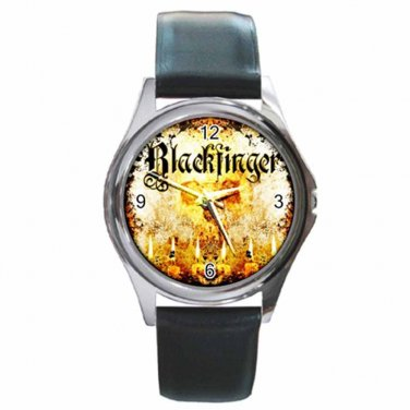 Blackfinger Round Silver Metal Watch With Leather Band