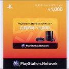 PlayStation Network Card JPY 1,000 Japan PSP, PS Vita, PS3 NEW