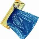 250 Dog Pet Waste Poop Bags 1 Roll Strong .75 mil 19 microns, easy separate blue
