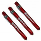 (3) Professional Medical Diagnostic Penlights With Pupil Gauge Red w/BATTERIES