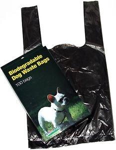 100 DOG PET WASTE POOP BAGS WITH HANDLES Black by Petoutside