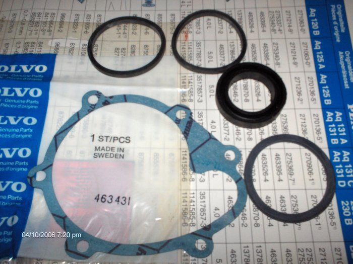 volvo penta  120B 125A 14OA 145A  CIRCULATION PUMP  GASKETS AND SEALS