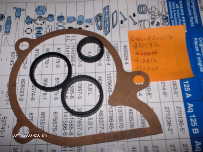 volvo penta   165A / 170 A B C  CIRCULATION PUMP GASKETS AND SEALS