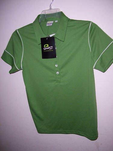 quagmire golf women green n white border polo shirt L