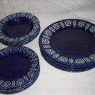 Gibson China Bradberry Aztec Design Cobalt Blue Dinner Salad Soup Bowls 12 pcs