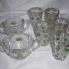 VINTAGE GREEN BULLSEYE PATTERN PRESSED GLASS TUMBLERS  7 pcs + free pitcher