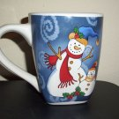 "Century Christmas  Stoneware Large Mugs Snowman with Son 4 1/2"" high x 4D  NICE"