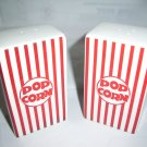 "classic popcorn Ceramic Salt & Pepper Shakers Red & White Stripes  4 3/4 "" tall"