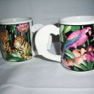 2 Vitromaster rain forest mugs coffee cup tigers parrot 1993