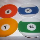 4 Glass Billiard Ball Salad plates Pool Table plates Lunch Dessert Snack Plates