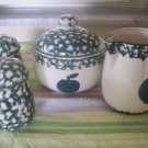 Tienshan Folk Craft Apple salt and pepper shakers sugar bowl and creamer 4 pcs