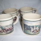 Vintage Ceramic Polo Players Coffee Mug Tea Cup Japan  set of 4 USED