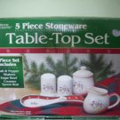 Royal Seasons Christmas Holiday 5 Piece Stoneware TABLE TOP SET Accessory Set