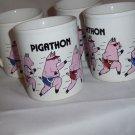 Vintage Pigathon Mug Cup June Sobel Made in England 1980`s  x 4 coffee mugs cups