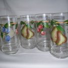 4  riekes crisa glass tumbler  pears cherry plums fruit pattern excellent  RARE