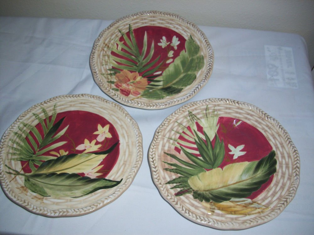 3 Certified International Pamela Gladding Paradise Salad Plates