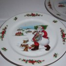"2  Country Christmas Collection  Porcelain Ware Indonesia  Plates  9 1/2"" D"
