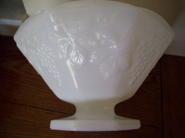 White Milk Glass Grape Design Bowl  Raised Grapes Footed Bowl