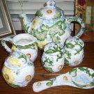 Daisy Patch Tabletops Unlimited  tea coffee pot creamer sugar salt pepper rest