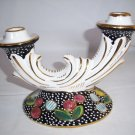CAMA DERUTA  ART POTTERY  Candle Stick Holder   Gold Trim  RARE