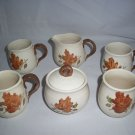 Metlox Poppytrail WOODLAND GOLD Autum Leaf California Mugs Creamer Sugar Bowl