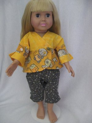 Gold and grey capri picnic outfit for American Girl