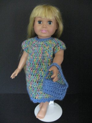 Crocheted multi-color and blue dress