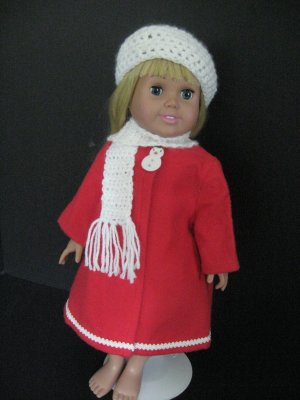 Crocheted hat and scarf for American Girl doll
