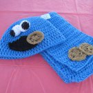 Cookie Monster crocheted hat and scarf