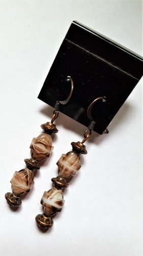 Copper Tone Glass Earrings