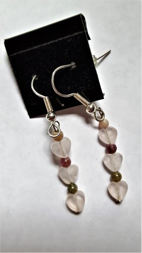 Rose Quartz & Tourmaline Earrings