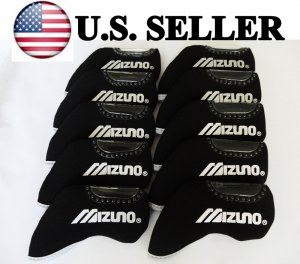 MIZUNO Golf Iron Head Covers 10pcs LEFT HANDED BLACK Color Headcover Club