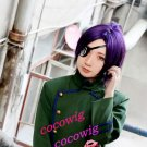 Hitman Reborn Chrome Dokuro  Purple Black Cosplay Wig