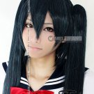Vocaloid Black Rock Shooter BRS  black and green cosplay wig clip 120 cm